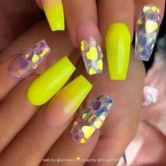 Yellow acrylic coffin nails design, Yellow gel nails design, Pastel yellow nails… - All For Hair Color Trending Neon Yellow Nails, Yellow Nails Design, Yellow Nail Art, Neon Nails, Glitter Nails, Glitter Hearts, Pastel Yellow, Color Yellow, Neon Acrylic Nails