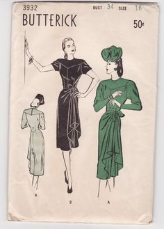 1940s back drape dress patterns | Vintage Sewing Pattern 1940's Dress With Draping Detail Bust 34 ...