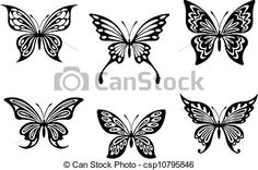 Vector - Black butterfly tattoos and silhouettes - stock illustration, royalty…