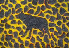 A shaggy WOLF - done in UPWOLFING techniques by Dutch fiber artist  Irene Van Der Wolf kunstwolf-kaart, from her site. GO, click around!