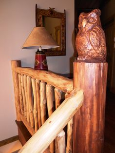 Rustic locust front porch railing systems can be crafted with a rhododendron infill, which is a beautiful unique look for indoor or deck railings. Front Porch Railings, Deck Railings, Interior Railings, Rustic Stairs, Stairways, Wood Carving, New Homes, Indoor, Cool Stuff