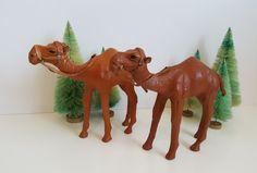 Vintage Pair of Moroccan Leather Wrapped Dromedary Camels, Nativity Figures with Bridle, Sculpture Desert Horses Retro Vintage, Vintage Items, Camels, Recycled Materials, Victorian Era, Country Of Origin, Vintage Leather, Moroccan, Vintage Christmas
