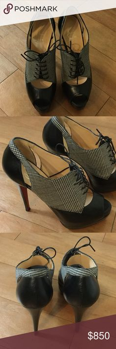 "Christian Louboutin Black Houndstooth Booties Uber fierce, NWOB. NWOT. 5"" heels. No dustbag, no box. Christian Louboutin Shoes Ankle Boots & Booties"