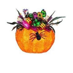 "Decorative Pre Lit Halloween Pumpkin with Attached Lights by SWC. $19.48. Pumpkin 12.75""L x 10.5"" w x 8.25"" H.. Prelit Halloween decoration. Indoor or covered outdoor use. Decorative prelit Halloween pumpkins are a fun way to decorate for your Halloween festivities.  Prelit decorated halloween pumpkin. Decorated pumpkin or decorated pumpkin with feet. These pumpkins are used indoor or covered outdoor. Enjoy these pumpkins for years to come. Decorative prelit Hal..."