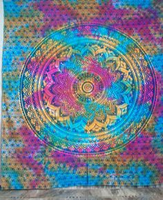 Ombre Indian Mandala Tapestry Hippie Tapestry Wall Hanging Bedspread  #Handmade #BedspreadTapestry Indian Mandala, Mandala Tapestry, Tapestry Wall Hanging, Bedspread, Outdoor Blanket, Boho, Handmade, Home Decor, Tapestry