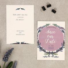 Lilic Save The Date Postkarte Quadratisch Blumenkranz Hochzeit