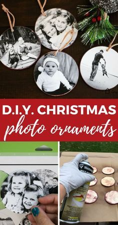These DIY photo Christmas ornaments are so easy to make and are a great way to display some of your special family memories! These DIY photo Christmas ornaments are so easy to make and are a great way to display some of your special family memories! Picture Ornaments, Photo Christmas Ornaments, Noel Christmas, Simple Christmas, Christmas Photos, Christmas Decorations, Diy Photo Ornaments, Homemade Christmas Ornaments, Christmas Reef