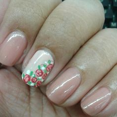 @onenailtorulethemall made this beautiful design of roses on a nude base. Trust me, it was gorgeous. My attempt to recereate it? Not so much. - April 21, 2014 #ManicureMonday #manicure #nailpolish #nailart #nails