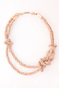 Bec Brittain Knotted Leather Rope Necklace with rose gold plated fittings