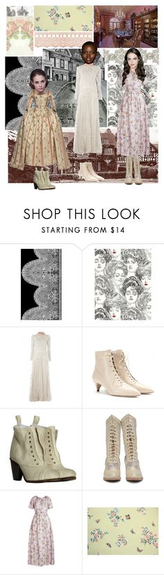 """""""Anne & Emily & Charlotte"""" by dorothygale-z ❤ liked on Polyvore featuring Valentino, Miu Miu, AllSaints, Brock Collection, Timorous Beasties and vintage"""