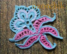 crochet motif appliqué Jacobean