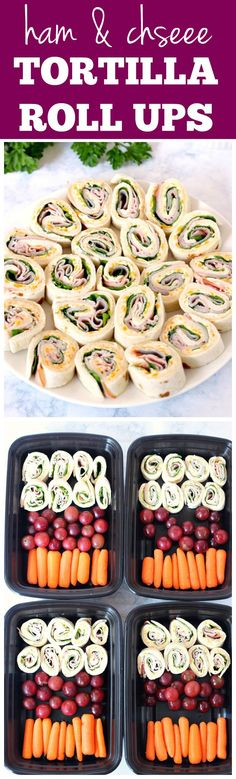 Ham and Cheese Tortilla Roll Ups Recipe - quick and easy lunch idea or snack for road trips! Creamy cheddar filling, layered with spinach and ham slices, paired with fruit and vegetables is great made ahead as well.