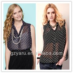 Ladys chiffon blouses tank top fashion of blouses in chifon woman clothing
