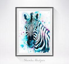 Zebra watercolor painting print Zebra art animal by SlaviART Zebra Painting, Zebra Art, Painting & Drawing, Painting Prints, Watercolor Paintings, Wall Art Prints, Zebra Illustration, Sea Life Art, Octopus Art