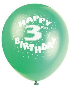 HAPPY 3rd BIRTHDAY PRINTED BALLOONS - Only $3.30 for  a pack of 10 delivered! New Birthday Party Supplies CLEARANCE SALE!