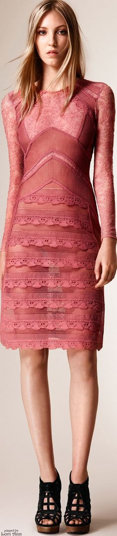 Burberry Prorsum Resort 2016 pink dress. women fashion outfit clothing style apparel @roressclothes closet ideas
