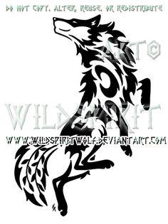 Dancing Wolf And Symbols Tribal Design by WildSpiritWolf.deviantart.com on @deviantART
