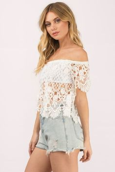 """Search """"Shayla Ivory Crochet Crop Top"""" on Tobi.com! lace allover short sleeve off shoulder cropped lace crochet overlay blouse top #ShopTobi #fashion #summer #spring #festival Music festival coachella vacation travel packing simple chic boho bohemian chic fashion style fashionable stylish comfy hot weather spring summer trendy tribal patterned shop buy cheap inexpensive ideas for women teens cute sexy edgy college outfit outfits"""