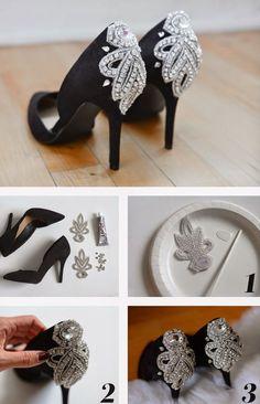 Parlak taşlarla topuklu ayakkabı süsleme yöntemi