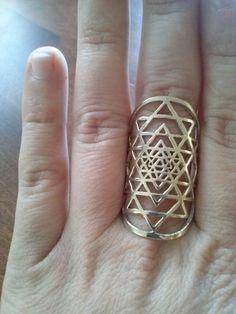 Sri Yantra ring in solid Brass ( sacred geometry)
