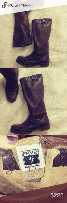FRYE VERONICA TALL LEATHER BOOTS PRELOVED BOOT , EXCELLENT condition,  💯 leather, rugged soles, ALMOST NO SIGNS OF WEAR,  Feel free to ask any questions BUNDLE FOR BETTER DISCOUNT Frye Shoes Combat & Moto Boots