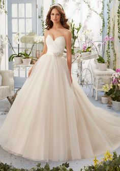 bc05a4753795 Asymmetrically Draped Bodice with Shoestring Straps onto Tulle Morilee  Bridal Wedding Dress