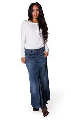 USKEES KIM Stretch Denim Flared Skirt - Midwash | USKEES ...