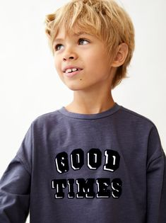 95e2f5f4 Image 1 of FLOCKED T-SHIRT WITH TEXT from Zara Flocking, Kids Boys,