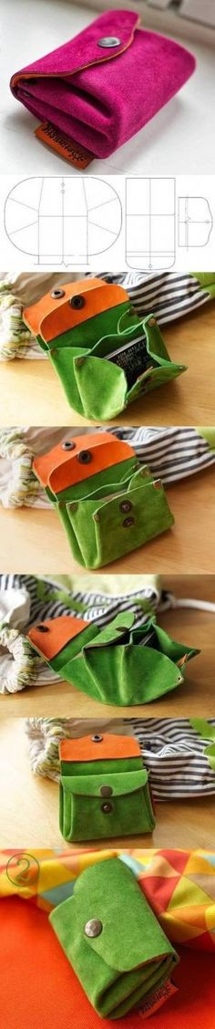 voici un autre tutoriel pour faire une petite pochette en cuir retourné avec de. here is another tutorial to make a small leather pouch turned over with pressures and rivets: And the same in brown l Handbag Tutorial, Diy Handbag, Diy Purse, Fabric Crafts, Sewing Crafts, Sewing Projects, Diy Crafts, Diy Projects, Diy Sac