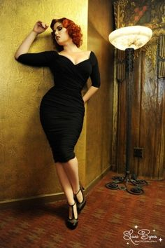 Pinup Couture - 50s Monica Dress in Black Matte Jersey Knit from Laura Byrnes Bla