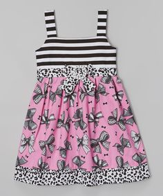 Look what I found on #zulily! Rose & Black Bow Stripe A-Line Dress - Infant by Longstreet #zulilyfinds