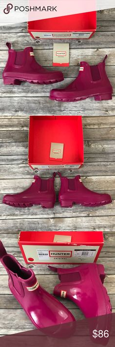 New Hunter Boots Chelsea Original Gloss Rain Boots Hunter Boots Original Chelsea Short Gloss Rain Boots in Dark Ion Pink •New in box (top of box has been removed and is not included) •Retails for $150  Check out my other listings- Nike, adidas, Michael Kors, Hunter Boots, Kate Spade, Miss Me, Rock Revival, Coach, Wildfox, Victoria's Secret, PINK, True Religion, Ugg Australia, Free People and more! Hunter Shoes Winter & Rain Boots