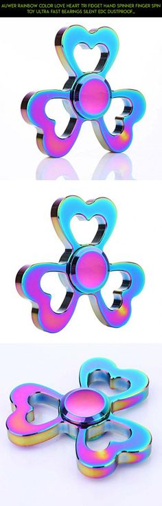 Auwer Rainbow Color Love Heart Tri Fidget Hand Spinner Finger Spin Toy Ultra Fast Bearings Silent EDC Dustproof Durable Fingertip Gyro For Stress Reducer ADD,ADHD,Boredom, Anxiety, Autism Adults/Kids #rainbow #camera #parts #racing #kit #fpv #love #drone #gadgets #technology #products #plans #heart #shopping #spinner #tech