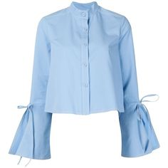 Derek Lam open bell sleeves cropped shirt ($1,210) ❤ liked on Polyvore featuring tops, blue, blue top, blue crop top, blue oxford, derek lam and blue oxford shirt