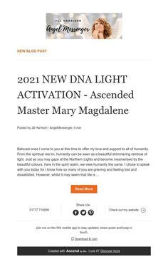 New Blog Post Ascended Masters, Mary Magdalene, News Blog, Spirituality, Angel, Messages, Activities, Spiritual
