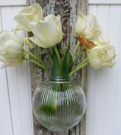 hanging vase made from vintage glass lightshade