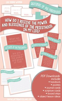 """LDS Young Women {Come, Follow Me} June lesson helps for """"How do I receive the power and blessings of the priesthood in my life?"""" Do you need some extra help and fresh ideas for your lessons? Check out what Latter-Day Village has to offer @ www.LatterDayVillage.com"""
