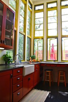 Bring in a bit of yellow by painting the window frames.