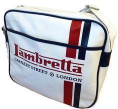 LAMBRETTA RETRO MOD RACING STRIPE LOGO SHOULDER FLIGHT BAG - White Lambretta Shoulder Flight Bag wit