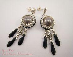 Beaded Earrings with Swarovski Rivoli Mat Gold Jewelry Mat
