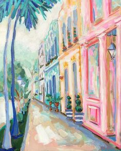 Skipping Town, 18�x24�, C. Brooke Ring // Charleston Rainbow Row Painting // Colorful contemporary impressionism