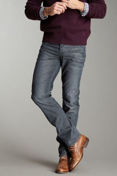 Stitch's Men Barfly Slim Straight Leg Jean in Dim Grey gray corduroy