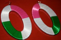 Ribbon covered oval hoop earrings by cabcrochet on Etsy, $22.00