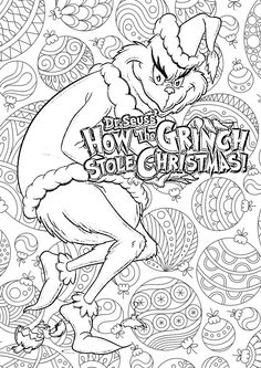 Free printable coloring pages for print and color, Coloring Page to Print , Free Printable Coloring Book Pages for Kid, Printable Coloring worksheet Mandala Coloring Pages, Coloring Book Pages, Printable Coloring Pages, Coloring Sheets, Grinch Coloring Pages, Grinch Christmas, Christmas Colors, Christmas Art, Christmas Themes