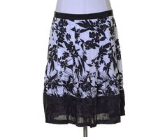 Ann Taylor White Black Brown Floral Embroidered Linen A-line Lined Skirt Size 14 #AnnTaylor #ALine