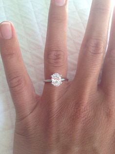 1.5 carat oval solitaire with 14 carat white gold band (1.7 mm width)..we ♥ this! moncheribridals.com