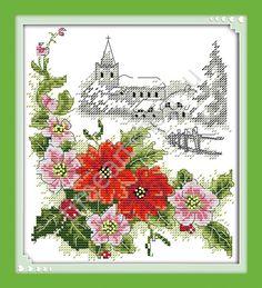 Зимние цветы, вышивка крестом