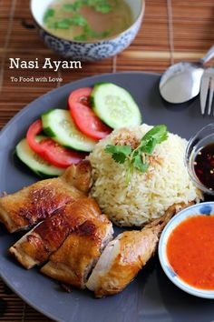 DISH OF THE WEEK: Nasi Ayam (Chicken Rice). With quick Chicken Broth and seasoned Soy Sauce and seasoned Sweet Chili Sauce dipping sauces. Roast Chicken And Rice, Chicken Rice Recipes, Roasted Chicken Rice Recipe, Singapore Chicken Rice Recipe, Hainanese Chicken Rice Recipe, Crab Recipes, Malaysian Cuisine, Malaysian Food, Malaysian Recipes