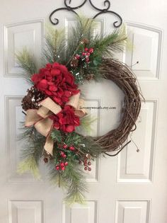 winter wreaths for front door, Christmas door wreaths, front door Christmas wreath, hydrangea Christmas wreath, front door Christmas wreath Christmas Door Wreaths, Christmas Greenery, Indoor Christmas Decorations, Etsy Christmas, Holiday Wreaths, Christmas Crafts, Winter Wreaths, Red Christmas, Christmas Ornaments