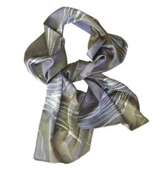 Winter Tones - Leaves in Silvers, Grays, Browns and Blue - Hand Painted Charmeuse Silk Scarf (approx.11x60 inches) by Laura Elderton www.etsy.com/shop/lauraelderton